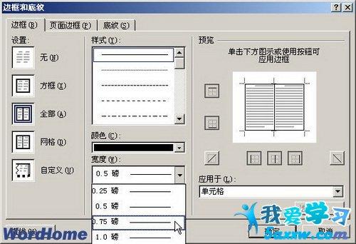 word2007表格边框的设置